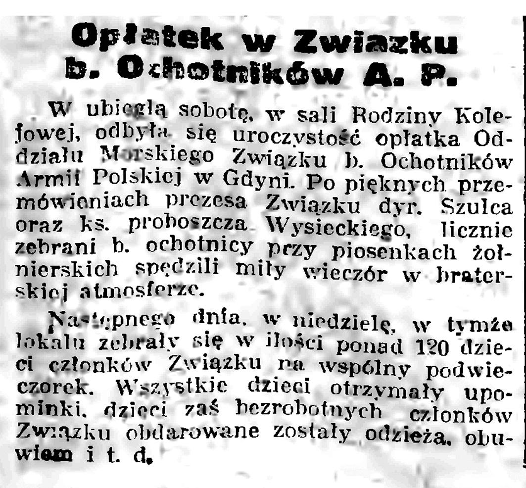 Opłatek w Związku b. Ochotników A.P. // Gazeta Gdańska. - 1939, nr 17, s. 7