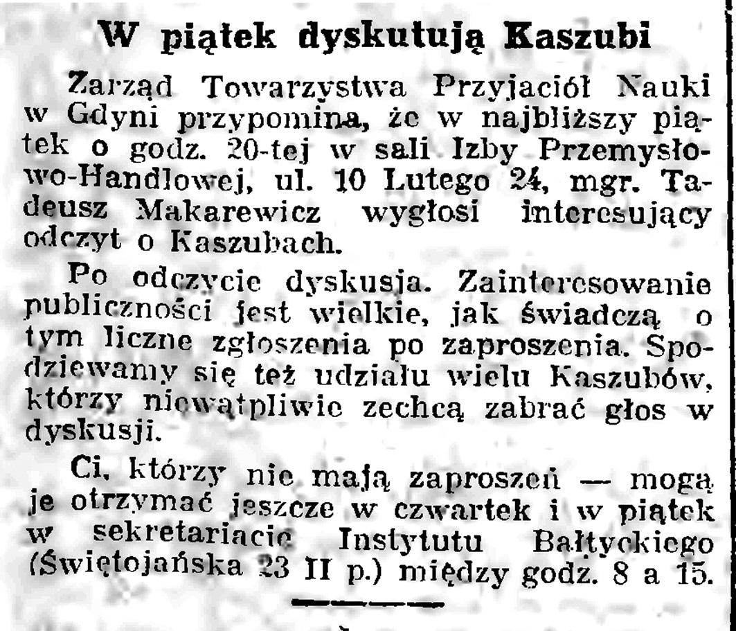 W piątek dyskutują Kaszubi // Gazeta Gdańska. - 1939, nr 17, s. 7