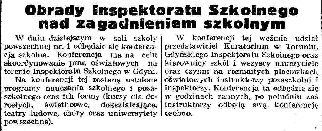 Obrady Inspektoratu Szkolnego nad zagadnieniem szkolnym // Gazeta Gdańska. - 1939, nr 17, s. 7