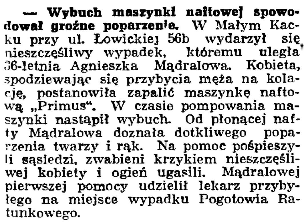 Wybuch maszynki naftowej spowodował groźne poparzenie // Gazeta Gdańska. - 1939, nr 24, s. 12