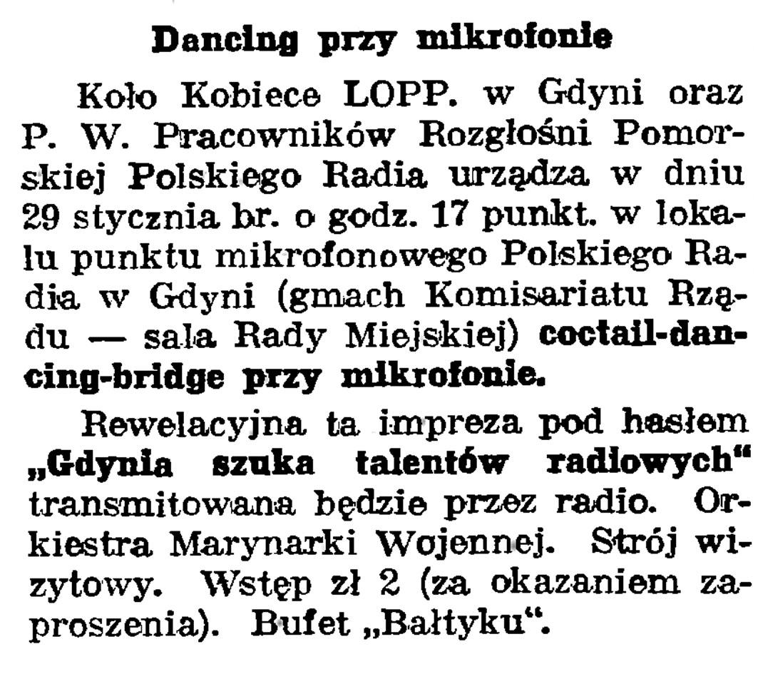 Dancing przy mikrofonie // Gazeta Gdańska. - 1939, nr 24, s. 12
