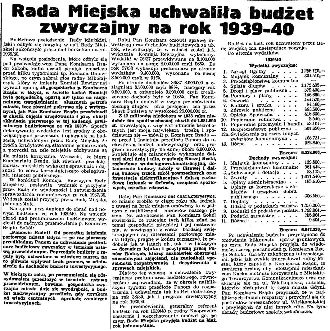 Rada Miejska uchwaliła budżet zwyczajny na rok 1939-1940 // Gazeta Gdańska. - 1939, nr 26, s. 7