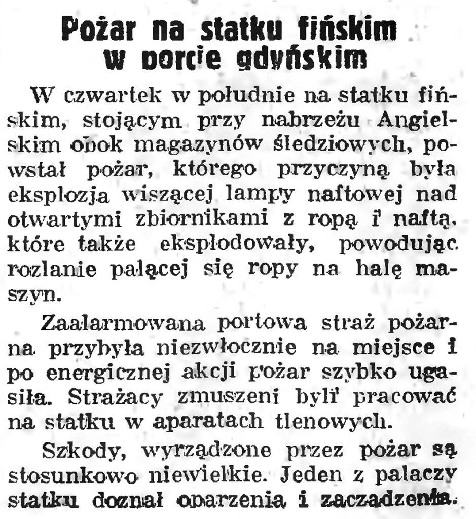 Pożar na statku fińskim w porcie gdyńskim // Gazeta Gdańska. - 1939, nr 41, s. 1