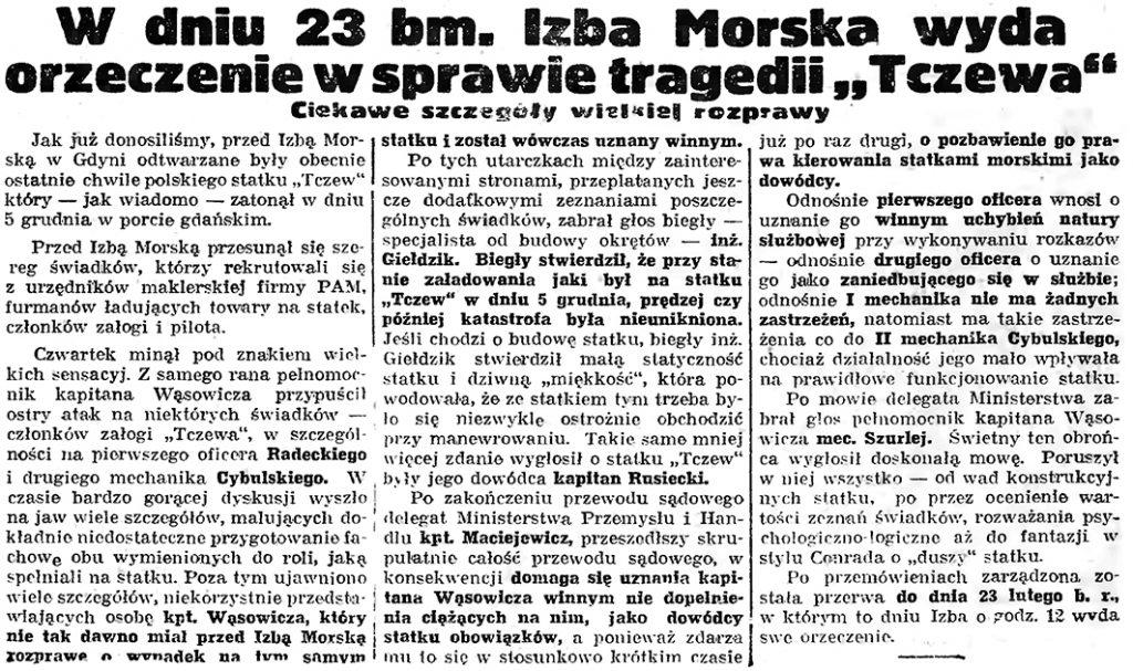 """W dniu 23 bm. Izba Morska wyda orzeczenie w sprawie tragedii """"Tczewa"""""""