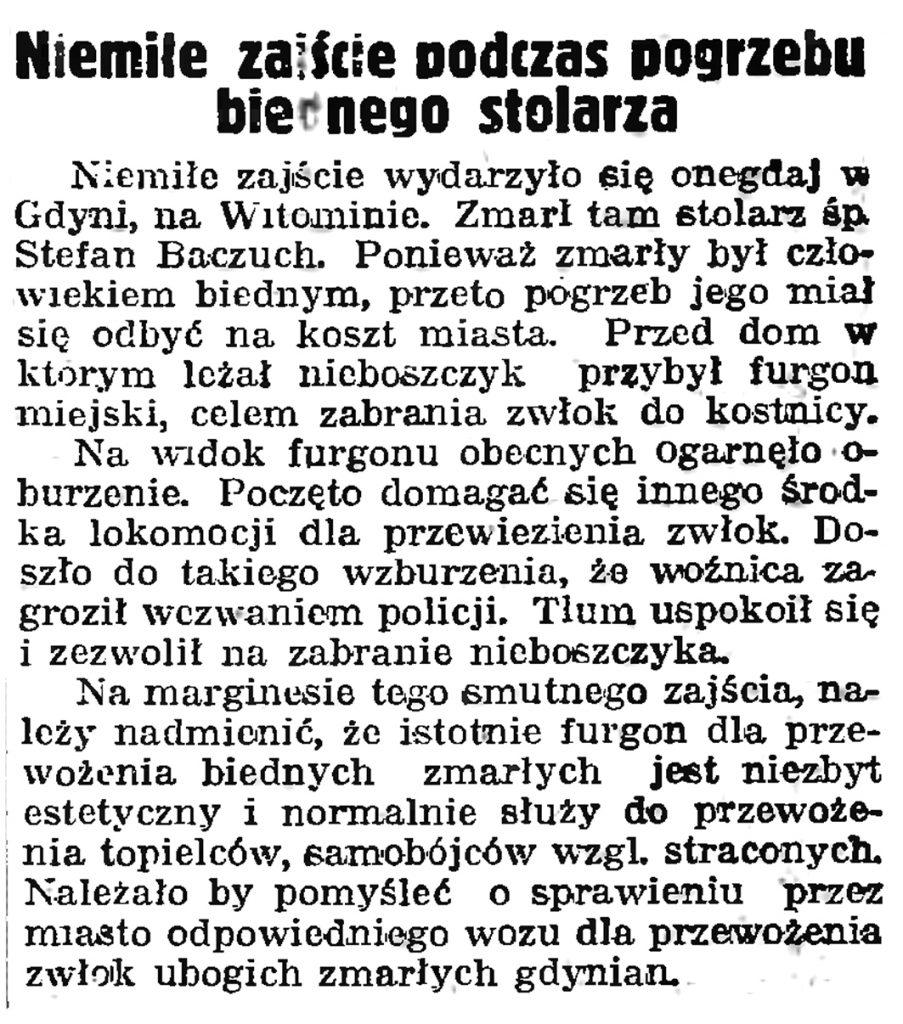 Niemiłe zajście podczas pogrzebu biednego stolarza // Gazeta Gdańska. - 1939, nr 41, s. 11