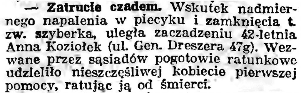 Zatrucie czadem // Gazeta Gdańska. - 1939, nr 41, s. 11