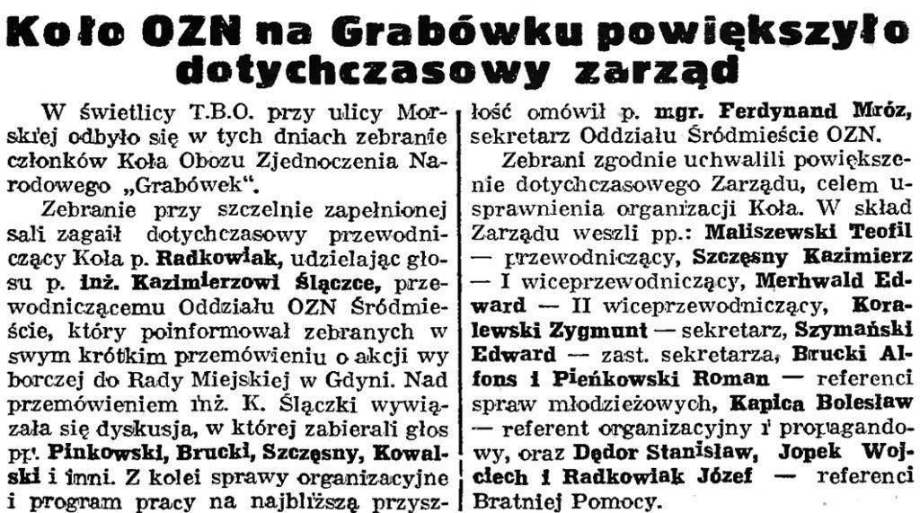 Koło OZN na Grabówku powiększyło dotychczasowy zarząd // Gazeta gdańska. - 1939, nr 41, s. 11