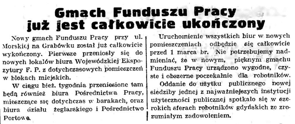 Gmach Funduszu Pracy już jest całkowicie ukończony // Gazeta Gdańska. - 1939, nr 42, s. 6