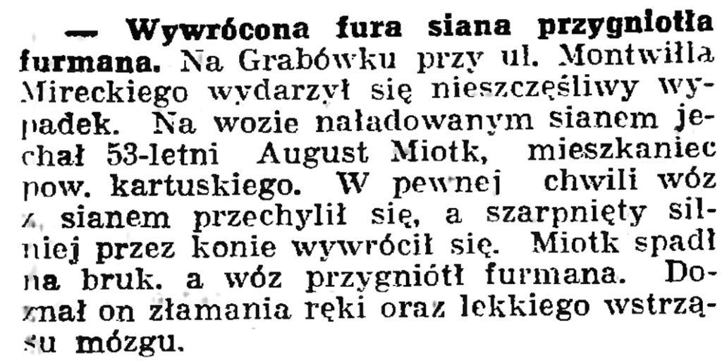 Wywrócona fura siana przygniotła furmana // Gazeta Gdańska. -1 939, nr 42, s. 6