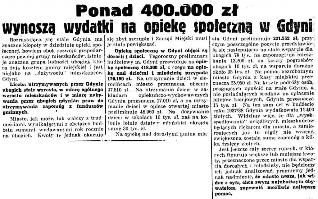 Ponad 400.000 zł wynoszą wydatki na opiekę społeczną w Gdyni // Gazeta gdańska. - 1939, nr 42, s. 6