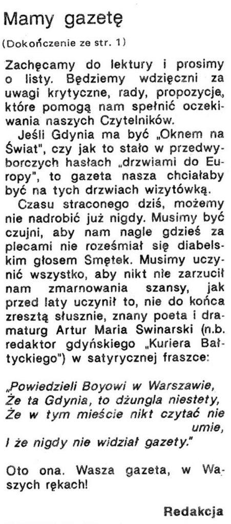 Mamy Gazetę / Redakcja // Gazeta Gdyńska. - 1990, nr 1, s. [1], 2