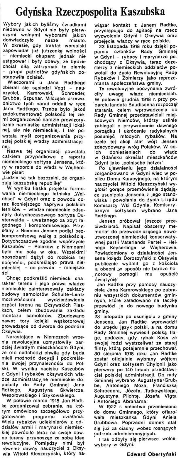 Gdyńska Rzeczpospolita Kaszubska / Edward Obertyński // Gazeta Gdyńska. - 1990, nr 1, s. 3