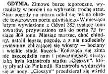 [Zimowe burze tegoroczne, wyrządziły w porcie i na wybrzeżu trochę strat ...] // Polska na Morzu. - 1934, nr 3, s. 2