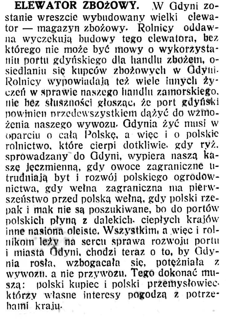 Elewator zbożowy // Polska na Morzu. - 1934, nr 3, s. 2