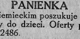 PANIENKA z niemieckim poszukuje posady do dzieci // Gazeta Gdyńska. - 1939