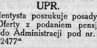 UPR. dentysta poszukuje posady // Gazeta Gdyńska. - 1939