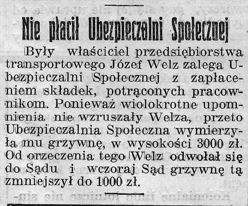 Nie płacił ubezpieczalni społecznej // Gazeta Gdańska. - 1939