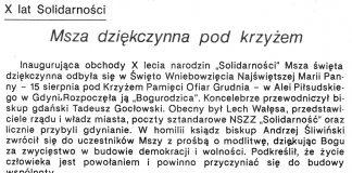 Msza dziękczynna pod krzyżem. X lat Solidarności // B. K. // Gazeta Gdyńska. - 1990, nr 2, s. [1]