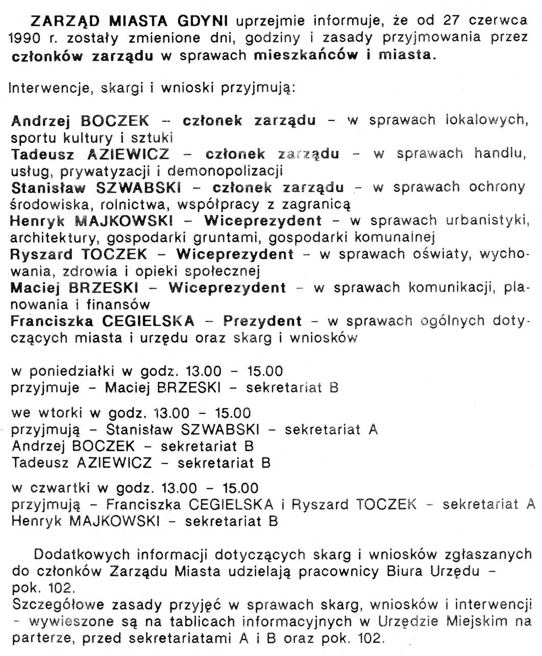 Zarząd Miasta gdyni informuje ... // Gazeta Gdyńska. - 1990, nr 2, s. 2