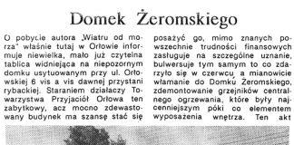 Domek Żeromskiego / Alicja Grzybiakówna // Gazeta Gdańska. - 1990, nr 2, s. 3. - Il.