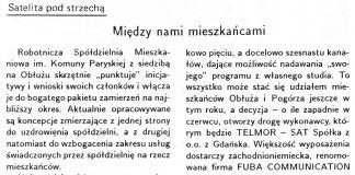 Między nami mieszkańcami / (M.N.) // Gazeta Gdyńska. - 1990, nr 2, s. 4