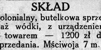 SKŁAD kolonialny, butelkowa sprzedaż wódki, z urządzeniem i towarem - 1200 zł do sprzedania. Mściwoja 7 m. 8