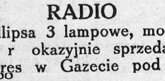RADIO Philipsa 3 lampowe, model 38 r. okazyjnie sprzedam // Gazeta Gdyńska. - 1939