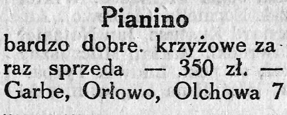 Pianino bardzo dobre, krzyżowe zaraz sprzeda - 350 zł. - Garbe, Orłowo, Olchowa 7