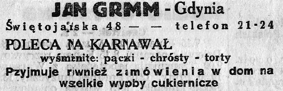JAN Grimm - Gdynia Poelca na Karnawał pączki - chrósty - torty be, Orłowo, Olchowa 7