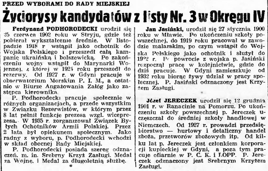 Życiorysy kandydatów z listy 3 / gazeta gdyńska