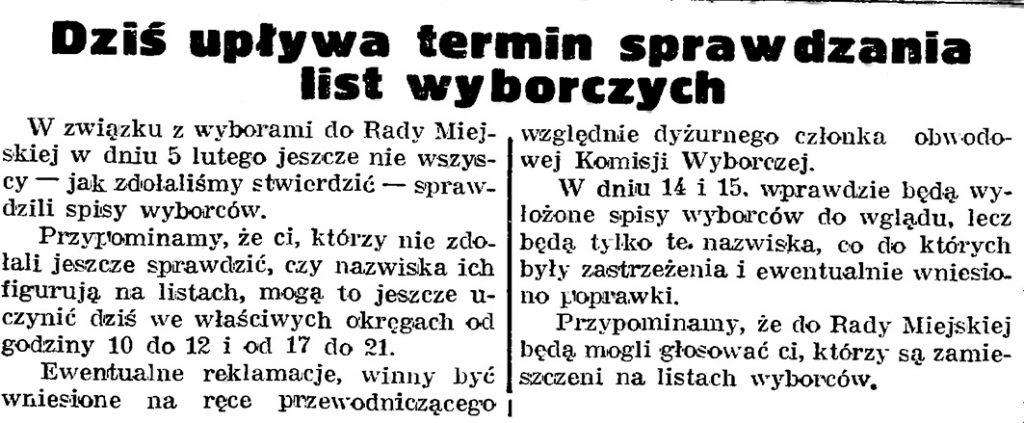 Dziś upływa termin sprawdzania list wyborczych // Gazeta Gdańska. - 1939, nr 3, s. 7