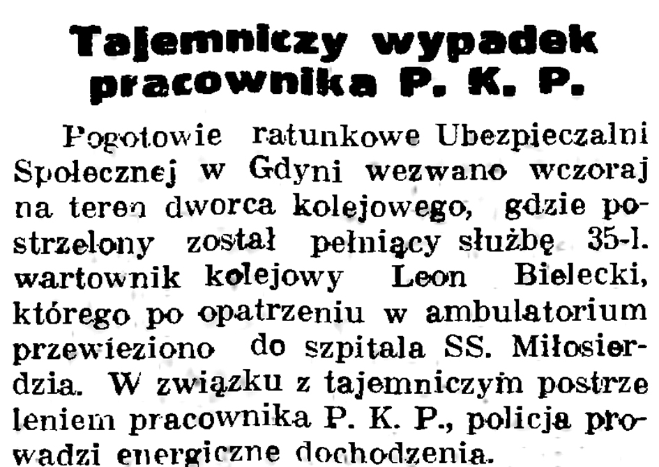 Tajemniczy wypadek pracownika P.K.P. // Gazeta Gdańska. - 1937, nr 192, s. 11