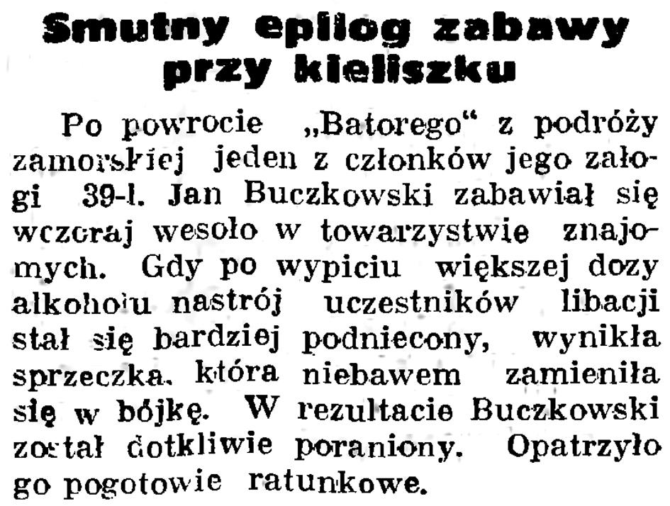 Smutny epilog zabawy przy kieliszku // Gazeta Gdańska. - 1937, nr 192, s. 11