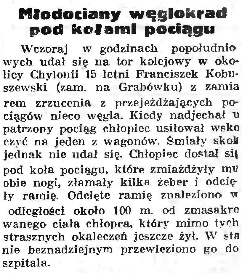 Młodociany węglokrad pod kołami pociągu // Gazeta Gdańska. - 1937, nr 198, s. 11