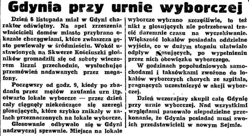 Gdynia przy urnie wyborczej // Gazeta Gdańska. - 1938, nr 254, s. 6