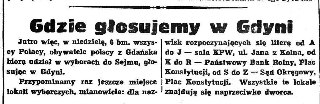 Gdzie głosujemy w Gdyni // Gazeta Gdańska. - 1938, nr 253, s. 11