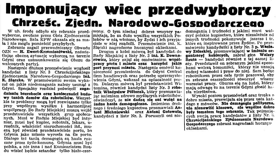 Imponujący więc przedwyborczy Chrześć.-Zjedn. Narodowo-Gospodarczego // Gazeta Gdańska – 1939, nr 24, s. 12