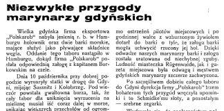 Niezwykłe przygody marynarzy gdyńskich // Latarnia Morska. - 1934, nr 41, s. 4