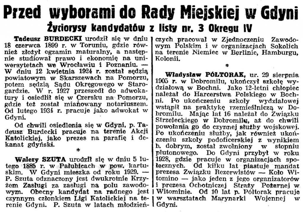 Przed wyborami do Rady Miejskiej w Gdyni. Życiorysy kandydatów z listy nr 3 Okręgu IV // Gazeta Gdańska. - 1939, nr 26, s. 7