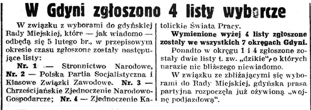 W Gdyni zgłoszono 4 listy wyborcze // Gazeta Gdańska. - 1939, nr 6, s. 13