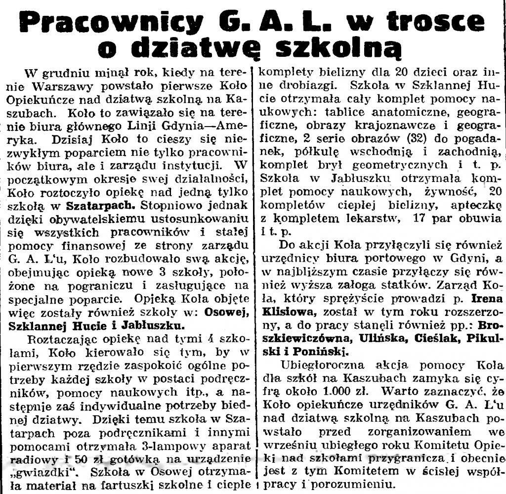Pracownicy G. A. L. w trosce o dziatwę szkolną // Gazeta Gdańska. - 1939, nr 20, s. 7