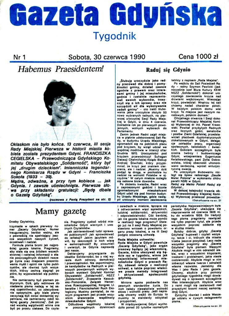 Gazeta Gdyńska. - 1990 Urząd Miasta Gdyni