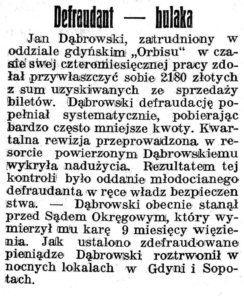 Defraudant - hulaka 2 // Gazeta Gdyńska. - 1939, z dnia 1 lutego