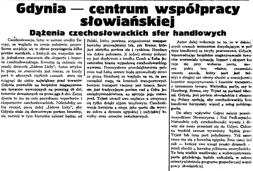 Gdynia - centrum współpracy słowiańskiej. Dążenia czechosłowackich sfer handlowych // Gazeta Gdańska. - 1934, nr 15, s. 2