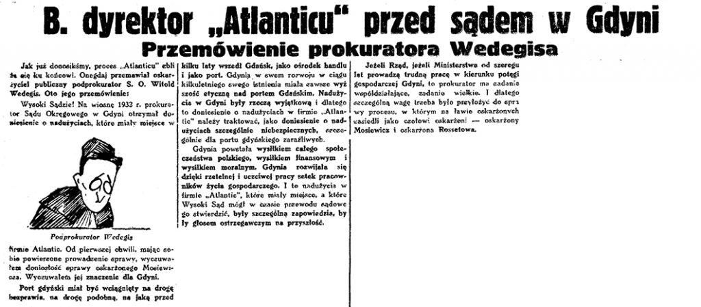 """B. dyrektor """"Atlanticu"""" przed sądem w Gdyni. Przemówienie prokuratora Wedegisa // Gazeta Gdańska. - 1934, s. 15, s. 7"""