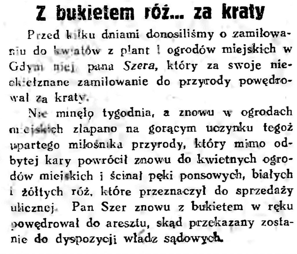Z bukietem róż... za kraty // Gazeta Gdańska. - 1934, nr 161, s. 6