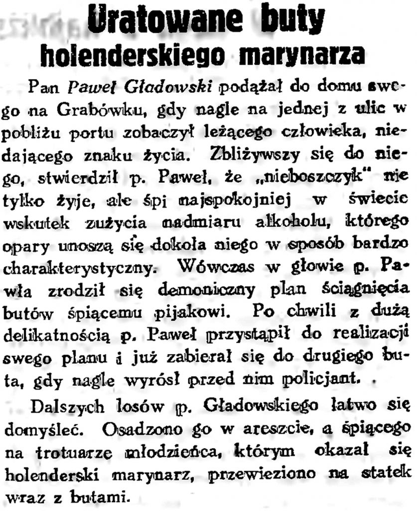 Uratowane buty holenderskiego marynarza // Gazeta Gdańska. - 1934, s. 161, s. 6