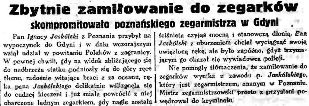 Zbytnie zamiłowanie do zegarków skompromitowało poznańskiego zegarmistrza w Gdyni // Gazeta Gdańska. - 1934, nr 161, s. 6gg34_161_6f