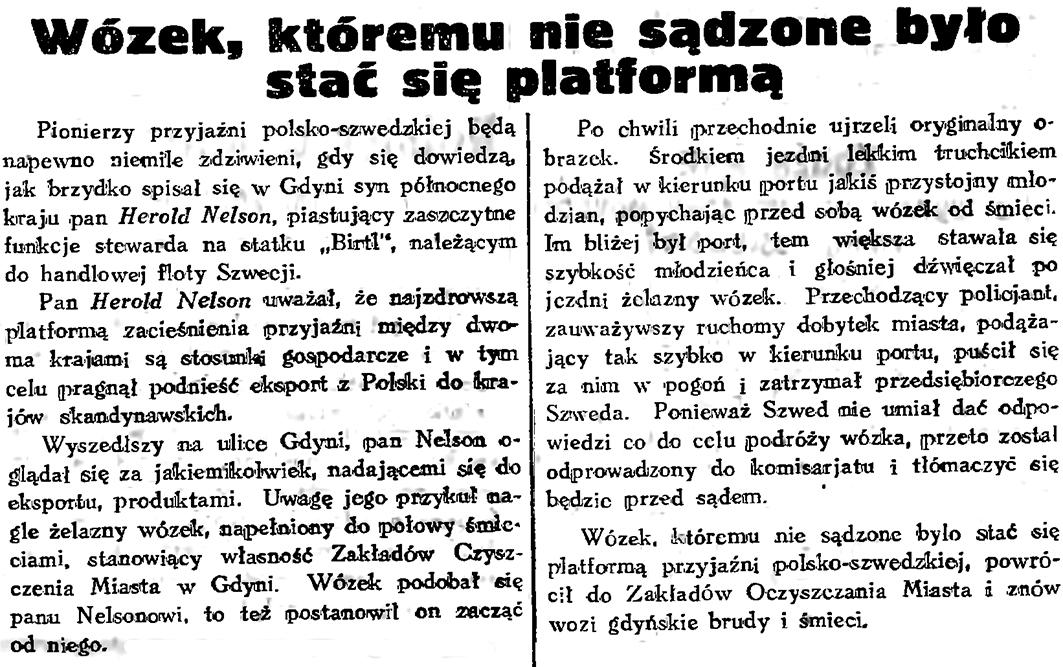 Wózek któremu nie sądzono było stać się platformą // Gazeta Gdańska. - 1934, nr 161, s. 6