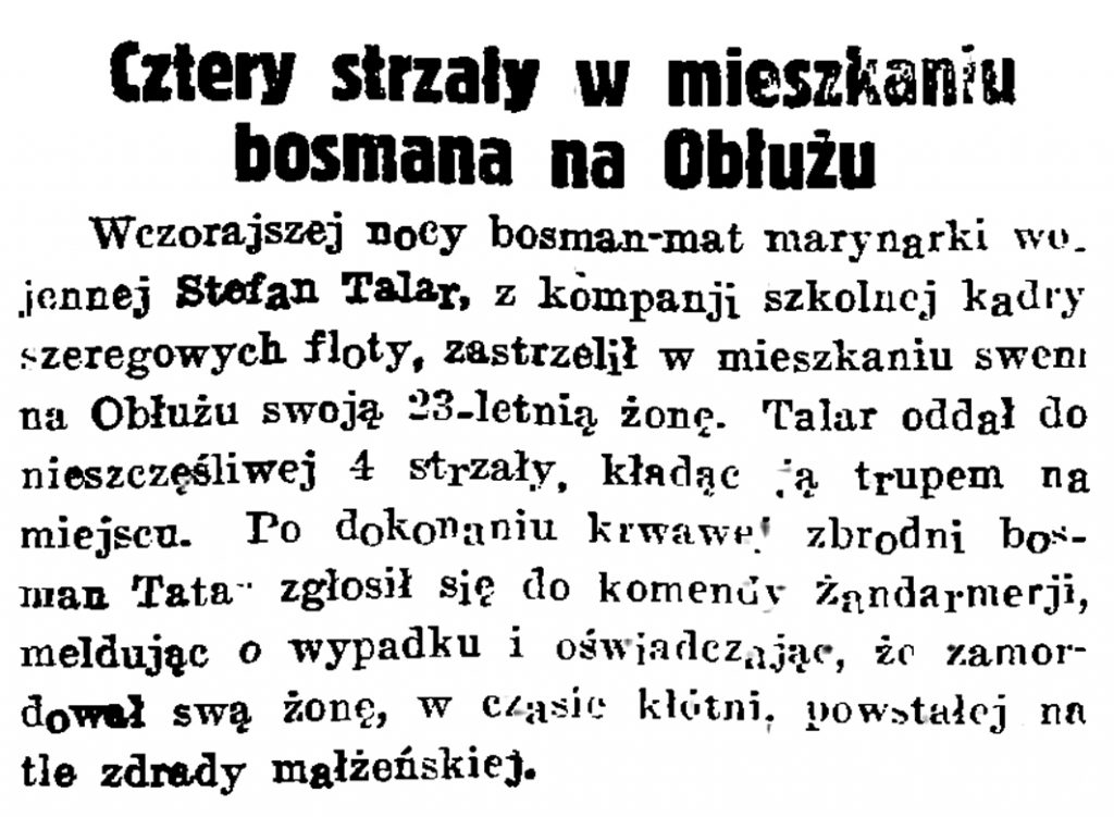 Cztery strzały w mieszkaniu bosmana na Obłużu // Gazeta Gdańska. - 1934, nr 170, s. 7